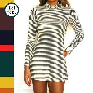 Dresses & Skirts - Black & white striped flare mini dress